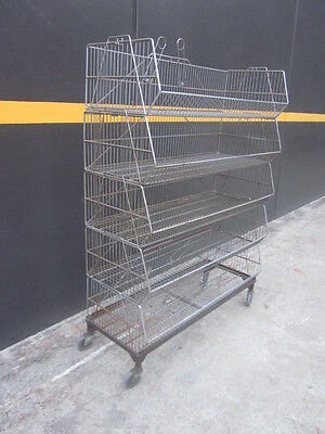 5 x WIRE....BASKET DISPLAY RACK...MOBILE ON CASTORS