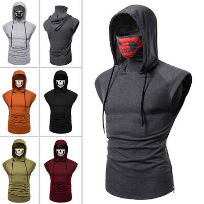 Men Muscle Fit Solid Hoodie Hooded Tank Tops Gym Workout Sleeveless Vest T-shirt