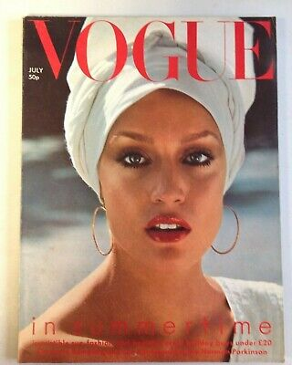 Vogue Magazine July 1975 Cover Jerry Hall by Norman Parkinson  (C1022)