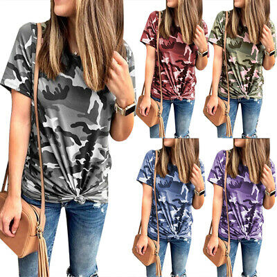 49b2d1f4e8bf Womens Summer Loose Short Sleeve Camo T Shirt Blouse Lady Camouflage Tops  Tee US