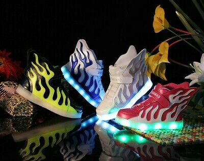 Boys Girls Kids Casual Shoes Wings LED Light up Lace Up Luminous Sneakers