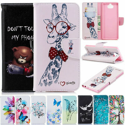 Painted Leather Wallet Flip Stand Case Cover For Sony Xperia 10 XA2 XA1 XZ2 XZ1