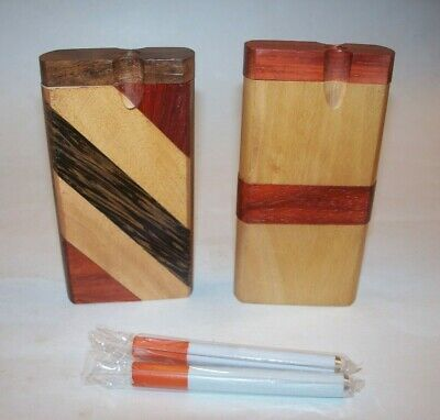 "Two 4"" Wood Dugout One Hitter Smoking Pipes with Cigarette Bats"