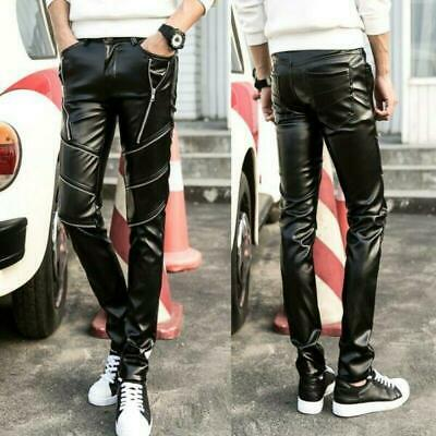 Mens Pant Faux Leather Slim Motorcycle Biker Leisure Long Trousers Stylish Zsell