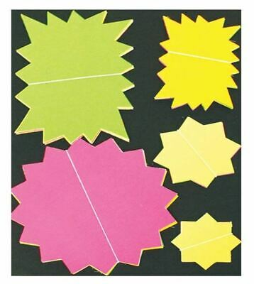25Pc Assorted Neon Cards Fluorescent Stars Flash Price Display Tags Shop Labels