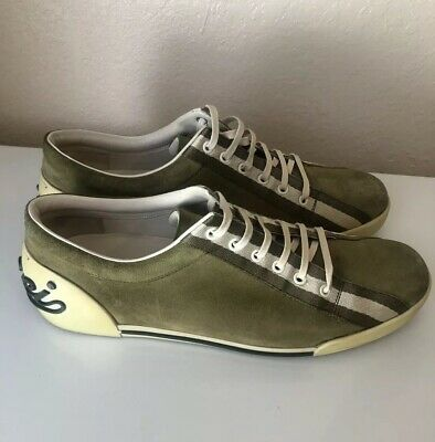 0c35d5dd2 Mens Gucci Low Top Sneakers Suede Size 10 Kiwi Green Vintage Pre Owned Used