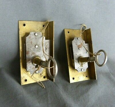 Paire French Antique Brass Cabinet Door Lock Cupboard Chest Drawer Bolt Key
