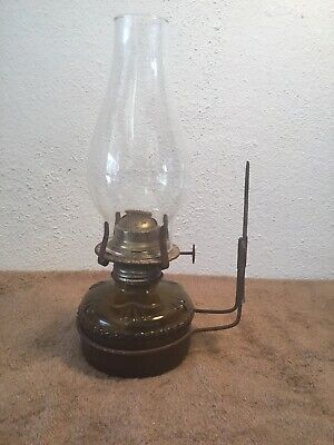 Vintage Oil Lamp Wall Sconce /w Metal Bracket & Chimney Made In Hong Kong