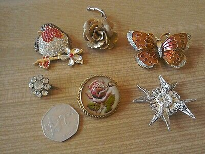 Collection of Vintage Brooches X 6.