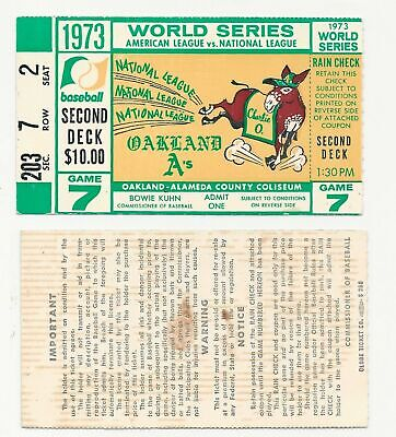 1973 World Series Game 7 Clincher Ticket Stub Ny Mets @ Oakland Athletics A's