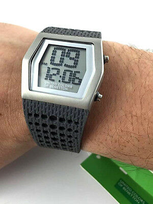 Watch Benetton Digital Rubber Rubber Watch LED Lighting Impossibile to Find! New