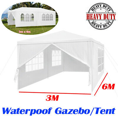 3mx6m Waterproof Garden Gazebo Party Tent Marquee Awning Canopy Shelter White