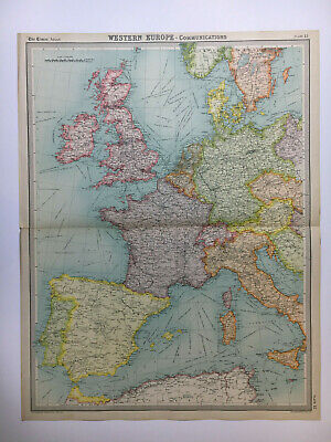 1922 Antique Old Map Bartholomew Times Atlas Of Western Europe Political