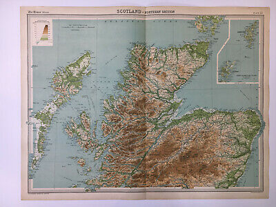 1922 Antique Old Map Bartholomew Times Atlas Of Scotland Northern Section