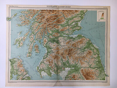 1922 Antique Old Map Bartholomew Times Atlas Of Scotland Southern Section