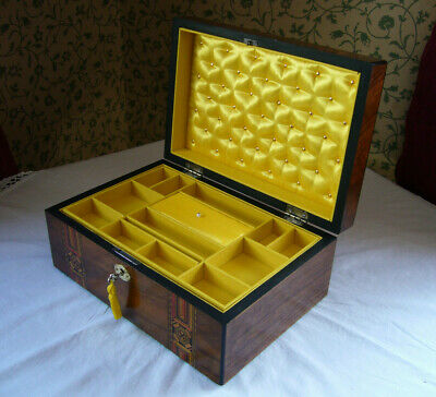 Antique Victorian Walnut Tunbridge Parquetry Inlaid Jewellery Box