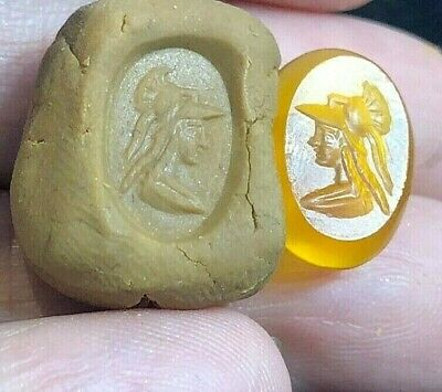 Stunning ancient carnelian Intaglio Handsome Greek Young King Signet Bead