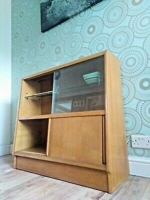 Delightful 1960's G PLAN E GOMME Mid-Century Blonde Oak Glazed Bookcase Cupboard
