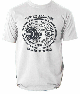 Work Fitness Addiction T Shirt Mens Gym Out Train Hard Iron Neck  S-3XL