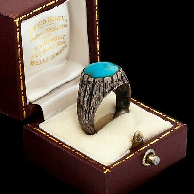 Antique Vintage Deco Mid Century Sterling Silver Brutalist Turquoise Ring S 8.75