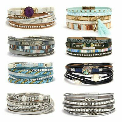 Multi-layer Boho Women Leather Magnetic Clasp Bracelet Cuff Bangle Wristband Hot