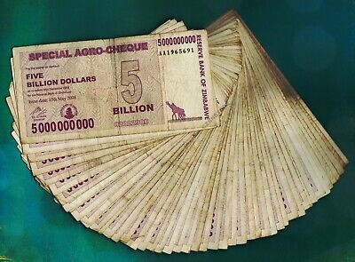 50 x 5 Billion Zimbabwe Dollars Banknotes Cheque Paper Currency Bundle Lot 50PCS
