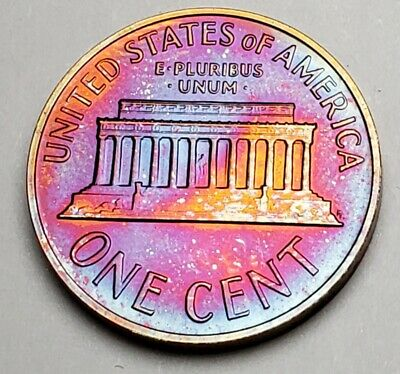 1964 Lincoln Memorial Unc Bu Cent Penny Monster Color Toned!