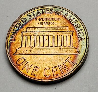 1964 Lincoln Memorial Unc Bu Cent Penny Beautiful Circle Color Toned!