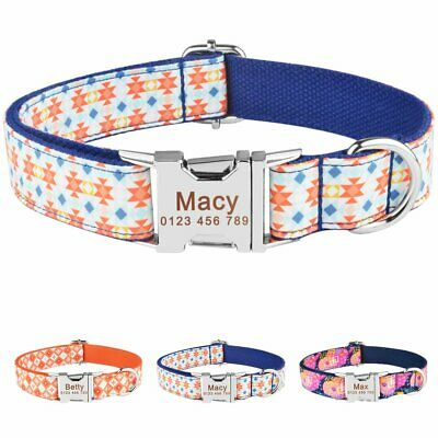Durable Nylon Personalised Dog Collar Pet Puppy Name ID Tag Custom Engraved XS-L