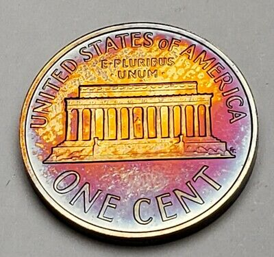 1964 Lincoln Memorial Unc Bu Cent Penny Monster Toned Both Sides