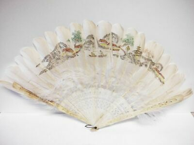 hübscher antiker handbemalter Feder-Fächer-Asia-antique handpainted feather fan