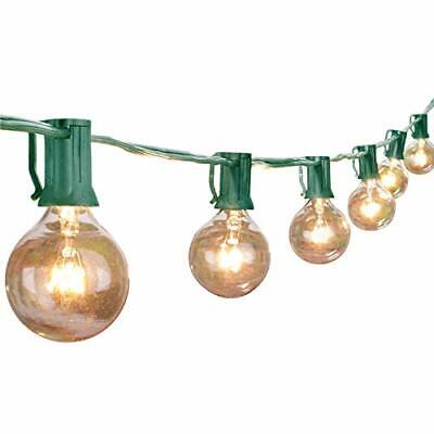 25Ft G40 Globe String Light Set UL Listed Outdoor Market Lights Decor Green Wire