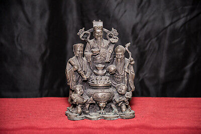 Old Chinese Silver Cornucopia Fu Lu Shou God Statue Over 3 lbs. 19th Century