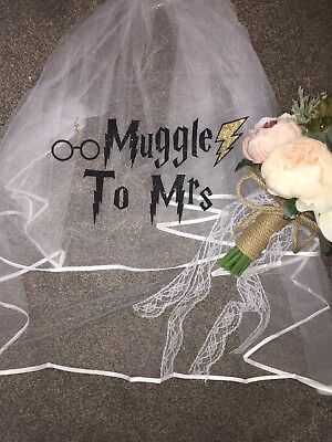 Personalised Hen Party Veil Harry Potter Inspired  Glitter Muggle To Mrs Print