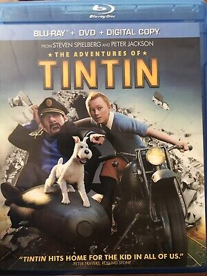 The Adventures of Tintin Blu-ray/DVD Pristine LikeNEW **Jamie Bell No UV Digital