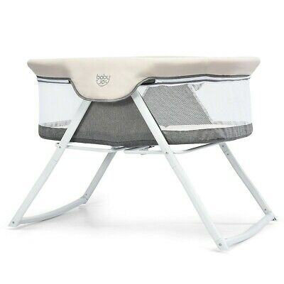 Foldaway Baby Bassinet Crib Newborn Rocking Sleeper Travel Portable W Bag Gray