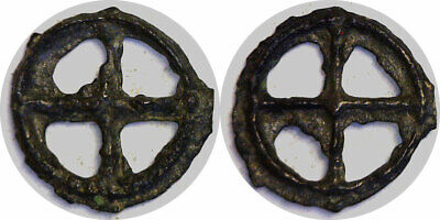 200-100 BC Helvetian Tribes Celtic Wheel Money France, Switzerland Bronze