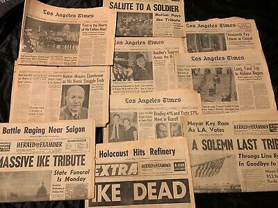 10 Newspaper Lot Ike Dwight Eisenhower Dies And Ceremony Trail Los Angeles Paper