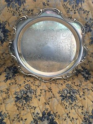 """NewPort By Gorham Silver-Plate Round Tray  YB512 12.25"""" Etched Design"""