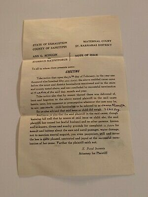 Hilarious State Of Exhaustion Baby Announcement Letter From Attorney 1950'S