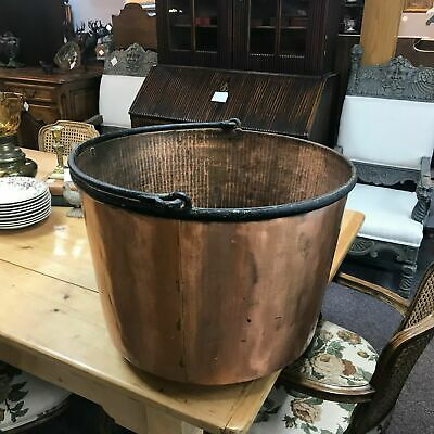 Large Antique 19th C Hand Hammered Copper & Wrought Iron Firewood Bucket  Pot