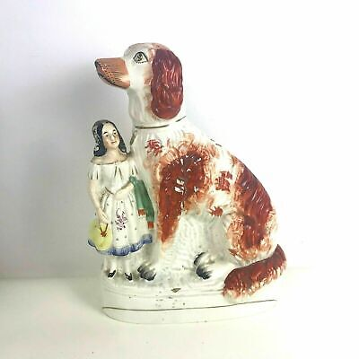 "Large 12"" Rare 19th Century Antique Staffordshire Figurine of Girl with Dog"