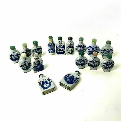 Group of 16 Chinese Porcelain Snuff Bottle Blue & White Decoration