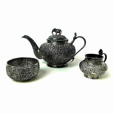 Antique 19th Century Anglo India Silver 3 Piece Teapot Tea Set
