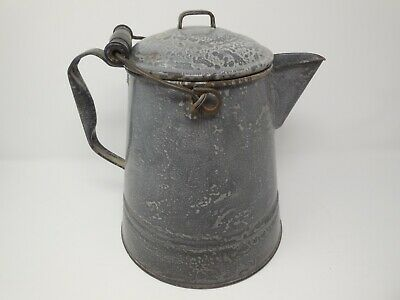 Vintage Gray Graniteware Enamelware Cowboy Speckled Large Coffee Pot Kettle