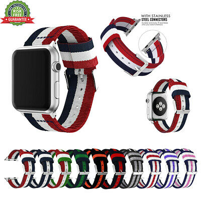 Woven Nylon Stripe iWatch Band Strap 38/40/42/44mm for Apple Watch Serie 4 3 2 1