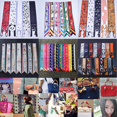 Women Twilly Small Ribbon Scarf Hair Band Bag Tied Handle Silk Wraps Decor Lot