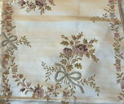 "Antique French 18thC Silk &Chenille Roses&Ribbons Brocaded Fabric Sample~26""X21"""