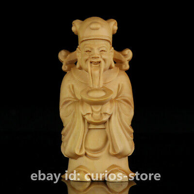 """2.8"""" Chinese Box-wood Hand-carved Yuanbao Mammon Money Wealth God Small Statue财神"""