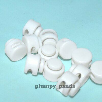 "White Mini Buttom ( Hole = 1/2"" ) Round Cordlock Cord Locks Toggles Stopper End"